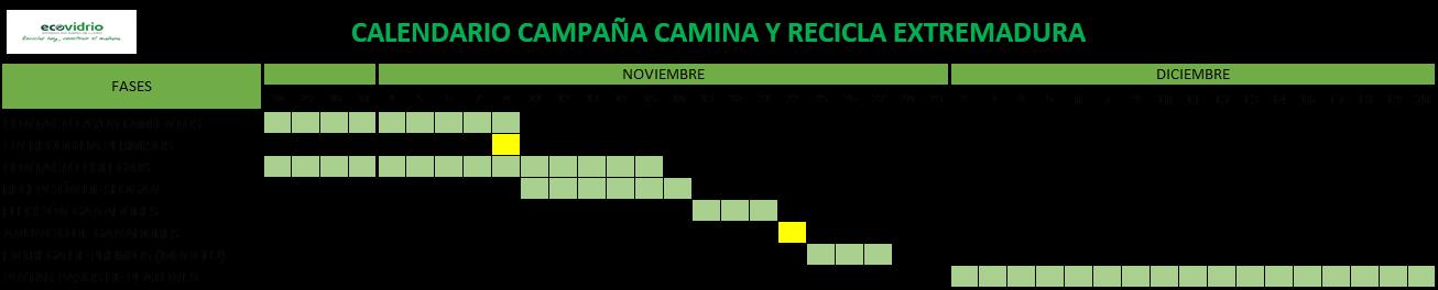 CALENDARIO CAMPAÑA CAMINA Y RECICLA EXTREMADURA